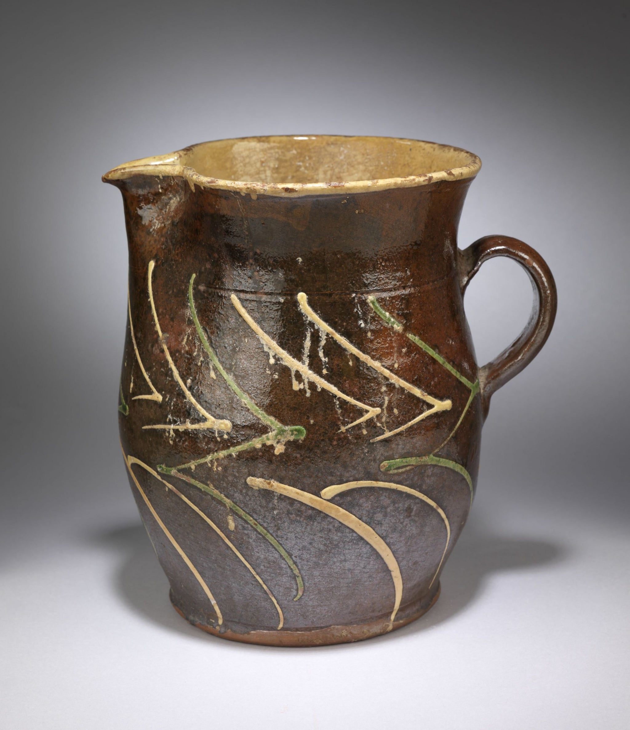 Large Pot-Bellied Earthenware Pitcher
