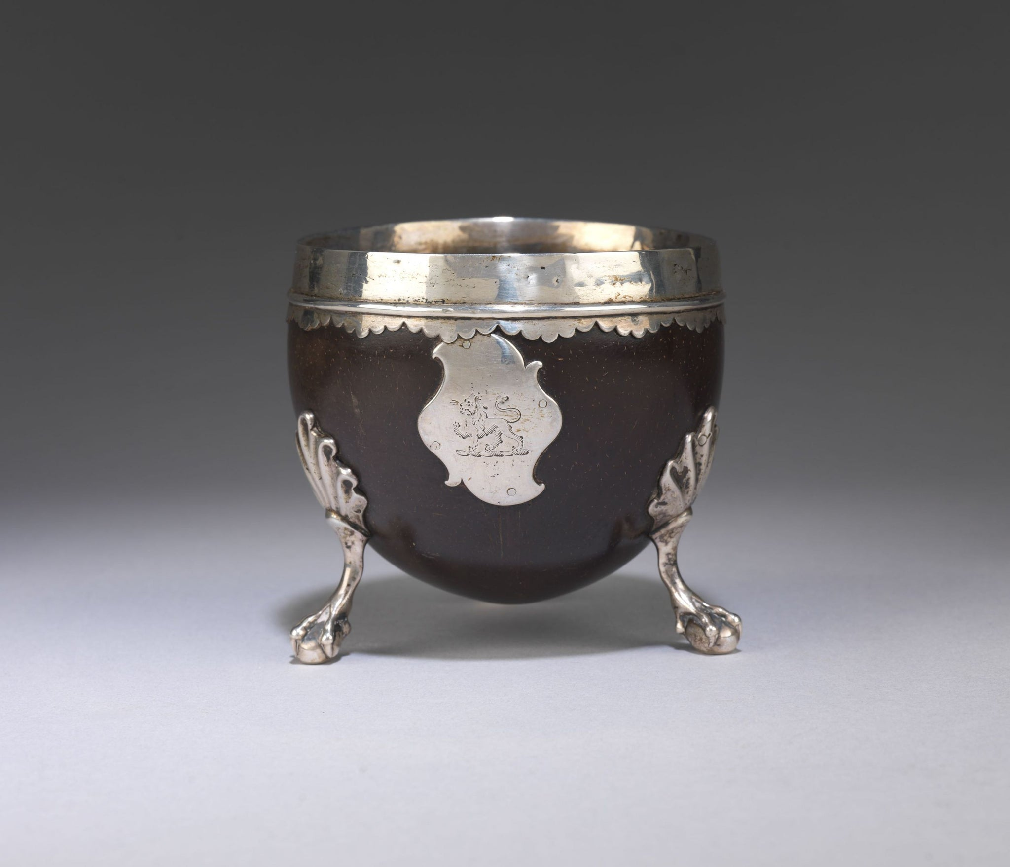 Silver Mounted Coconut Vessel with Armorial Cartouche
