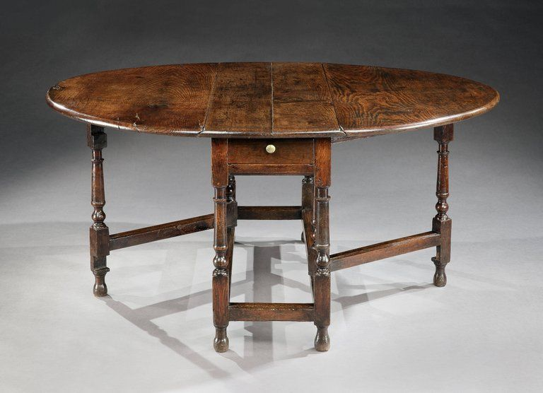 William and Mary Period Oval Drop Leaf Table