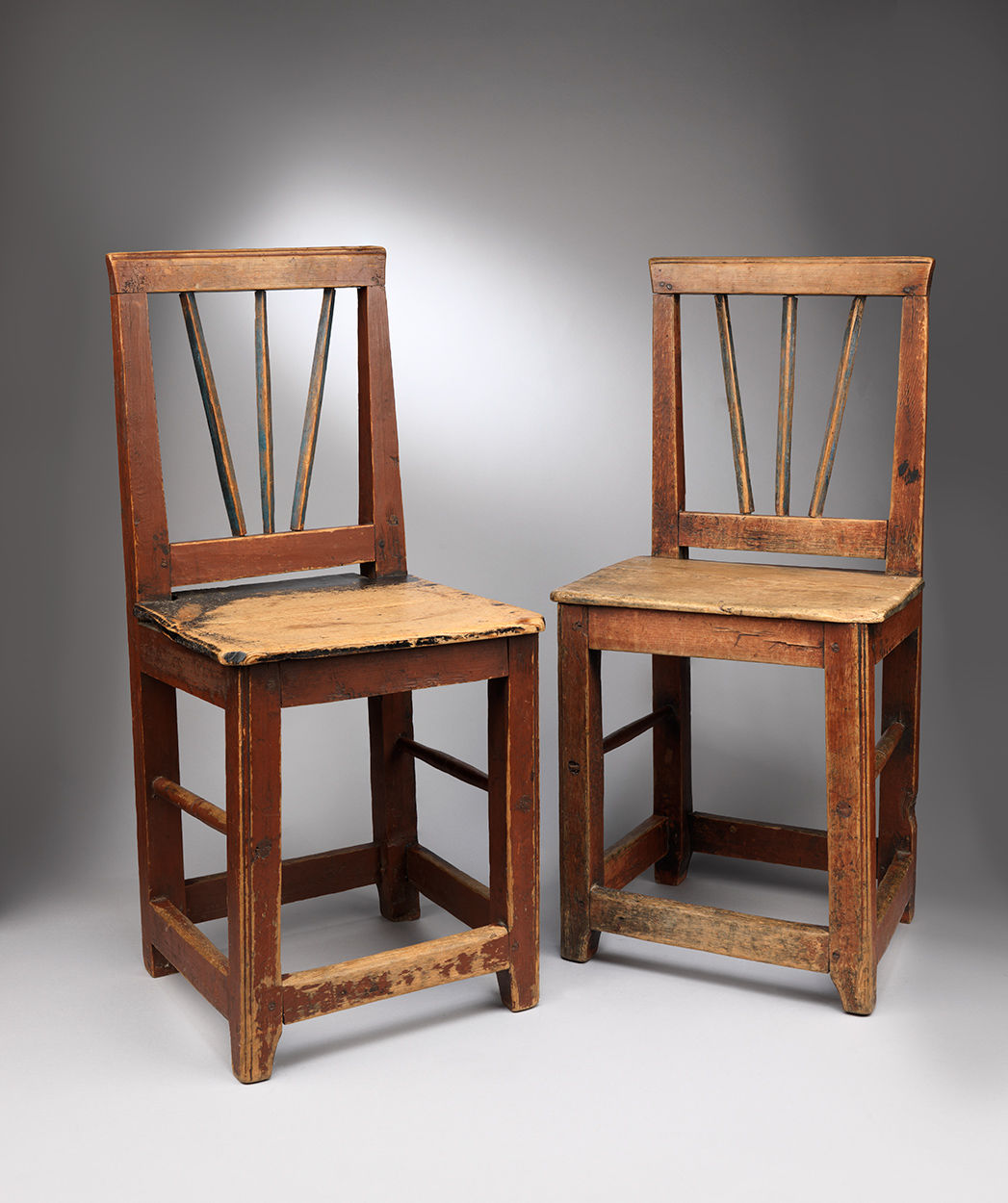 Pair of Folk Art Painted Vernacular Chairs