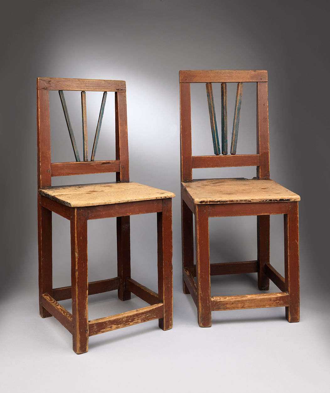 Delightful Pair of Primitive Country Side Chairs