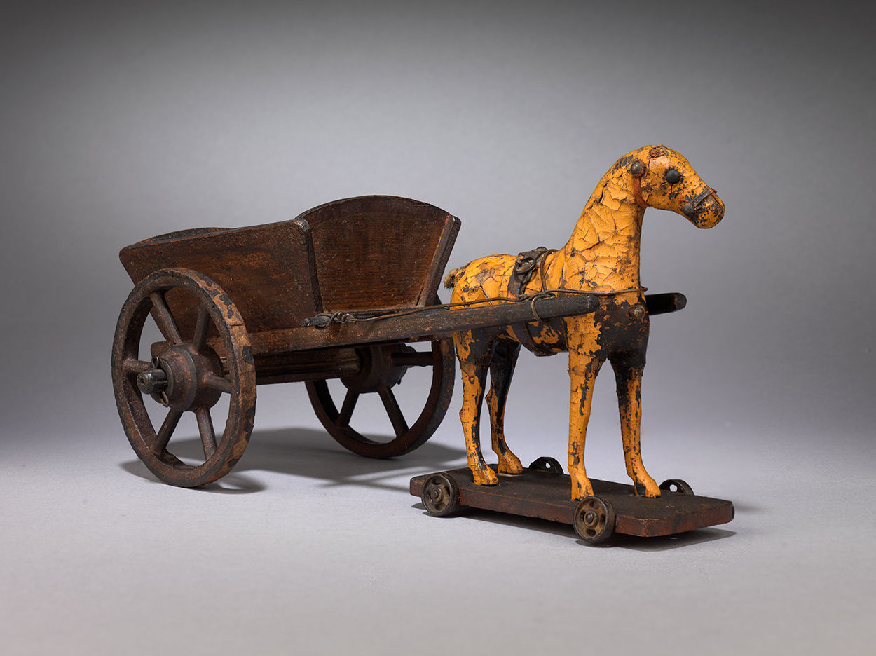 Rare Small Folk Art Horse and Cart Pull Toy