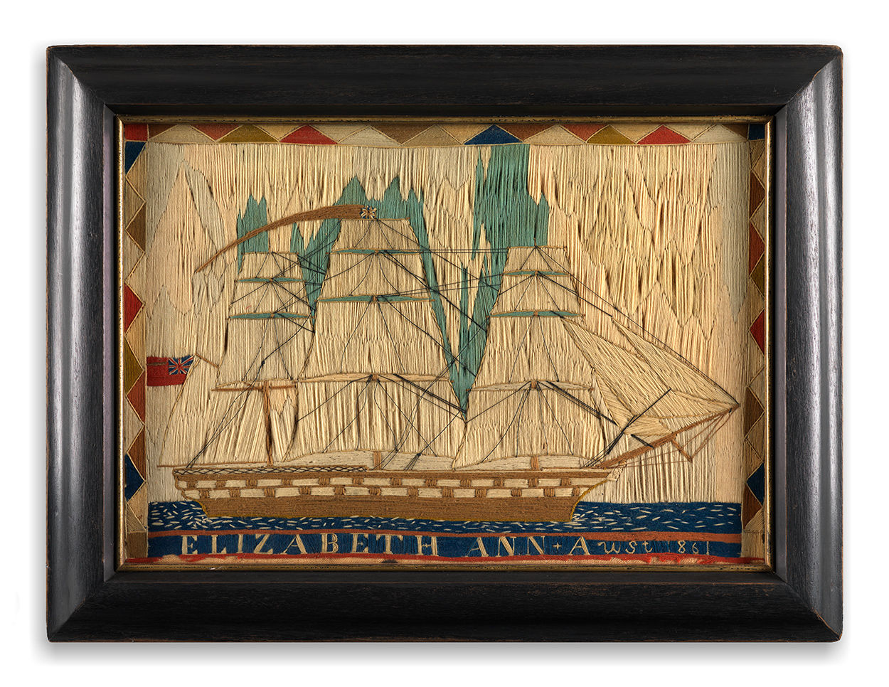 Fine and Unusual Sailor's Woolwork Ship Portrait