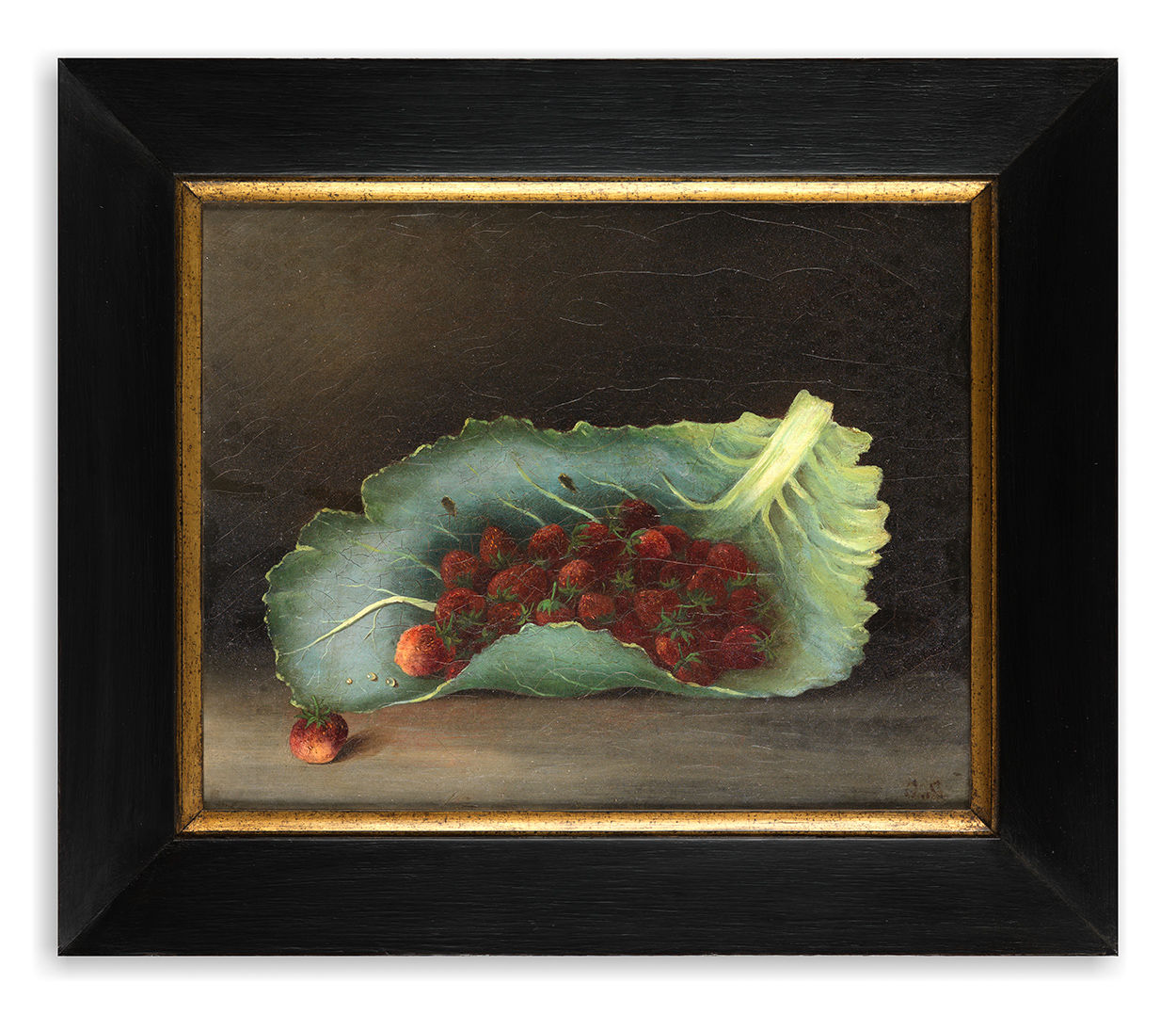 Still Life of Strawberries in a Leaf,