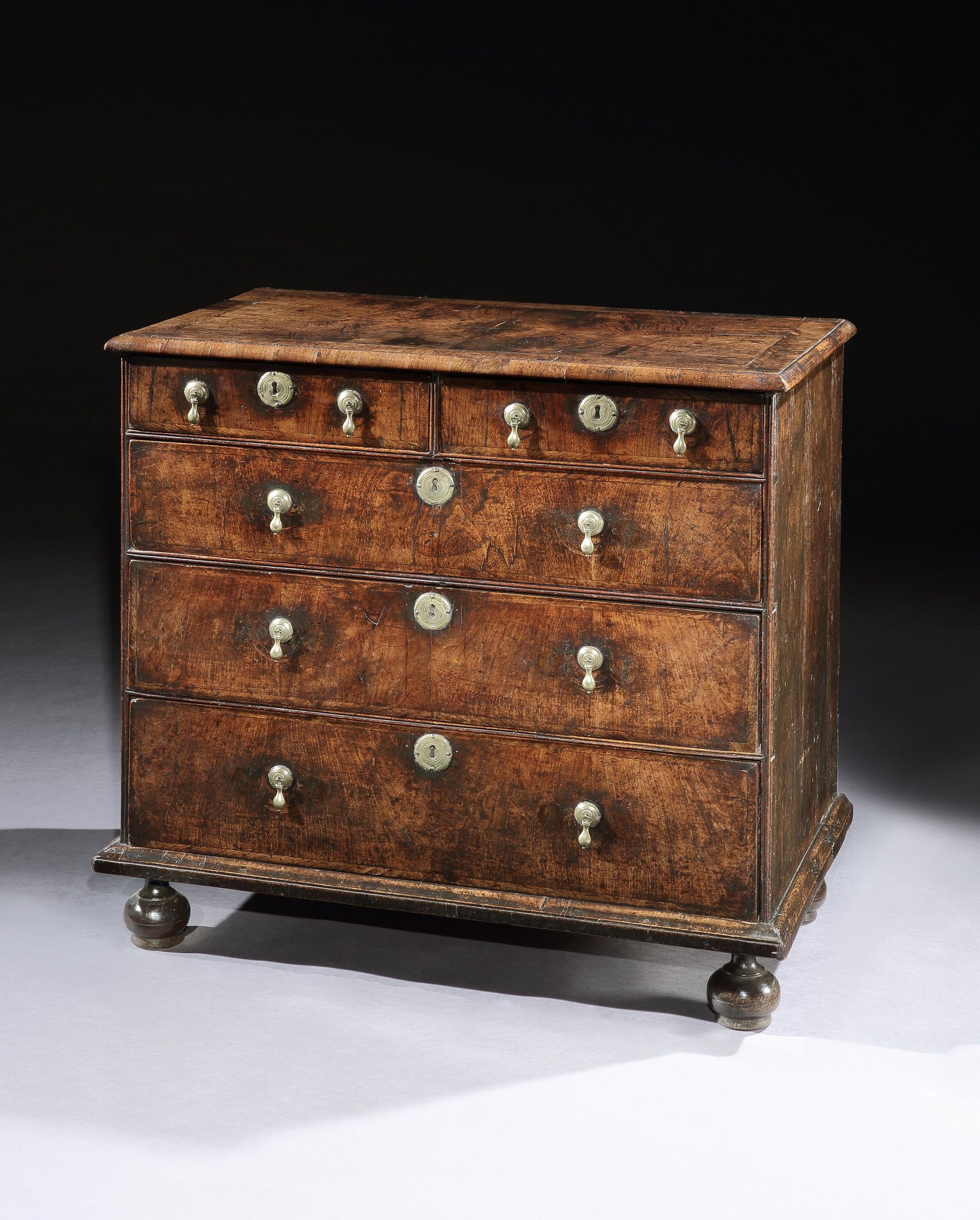 Queen Anne Period Chest of Two Short and Three Long Drawers