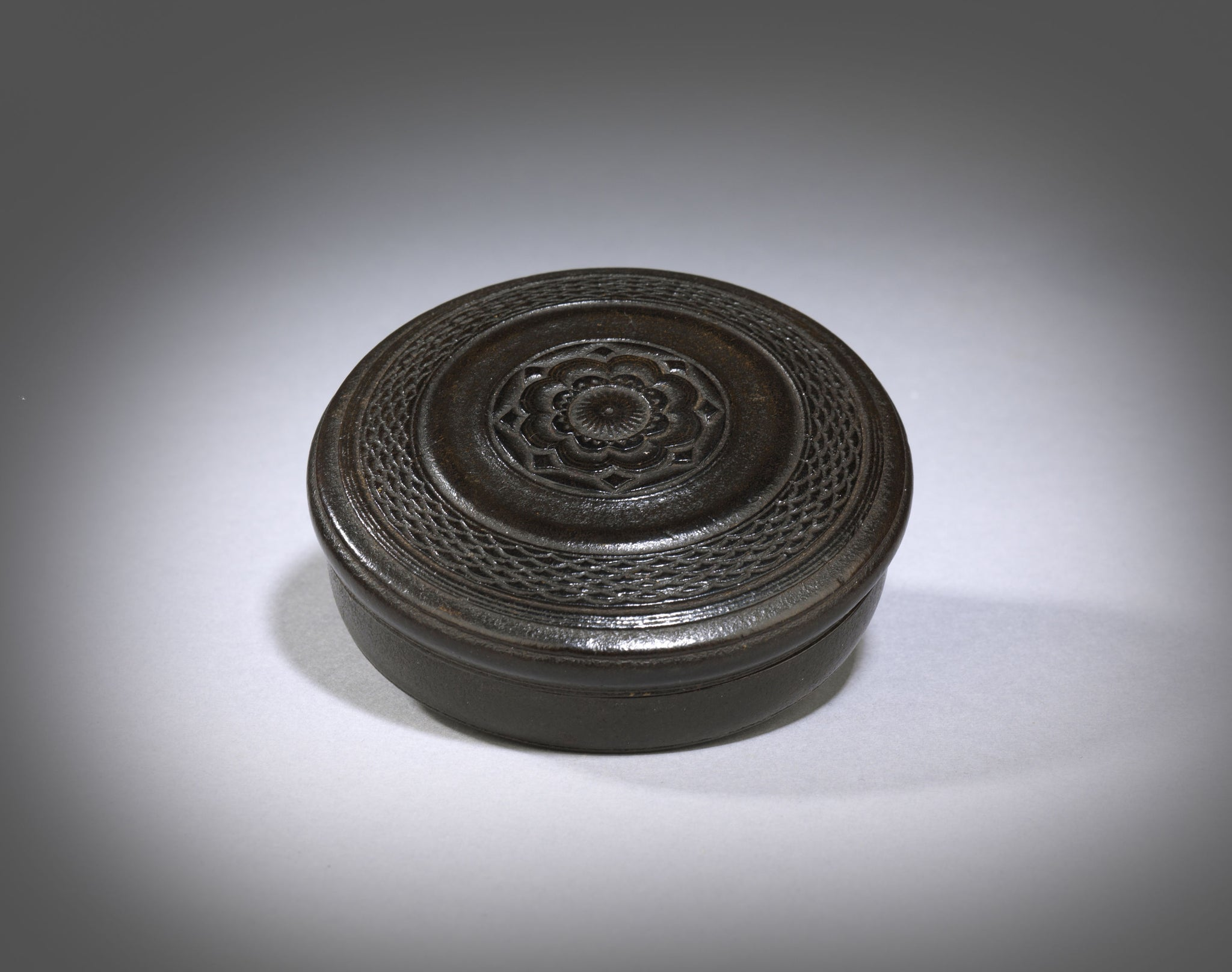 Rare Leather Circular Snuff or Tobacco Box