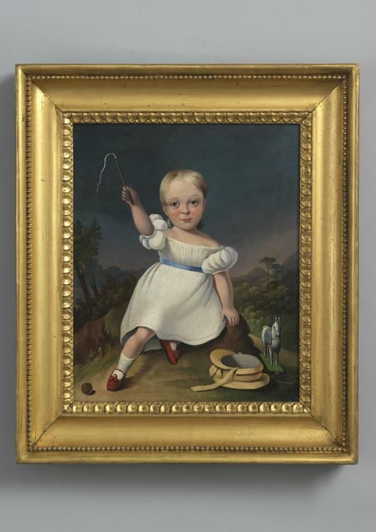Portrait of a Seated Child in a White Dress