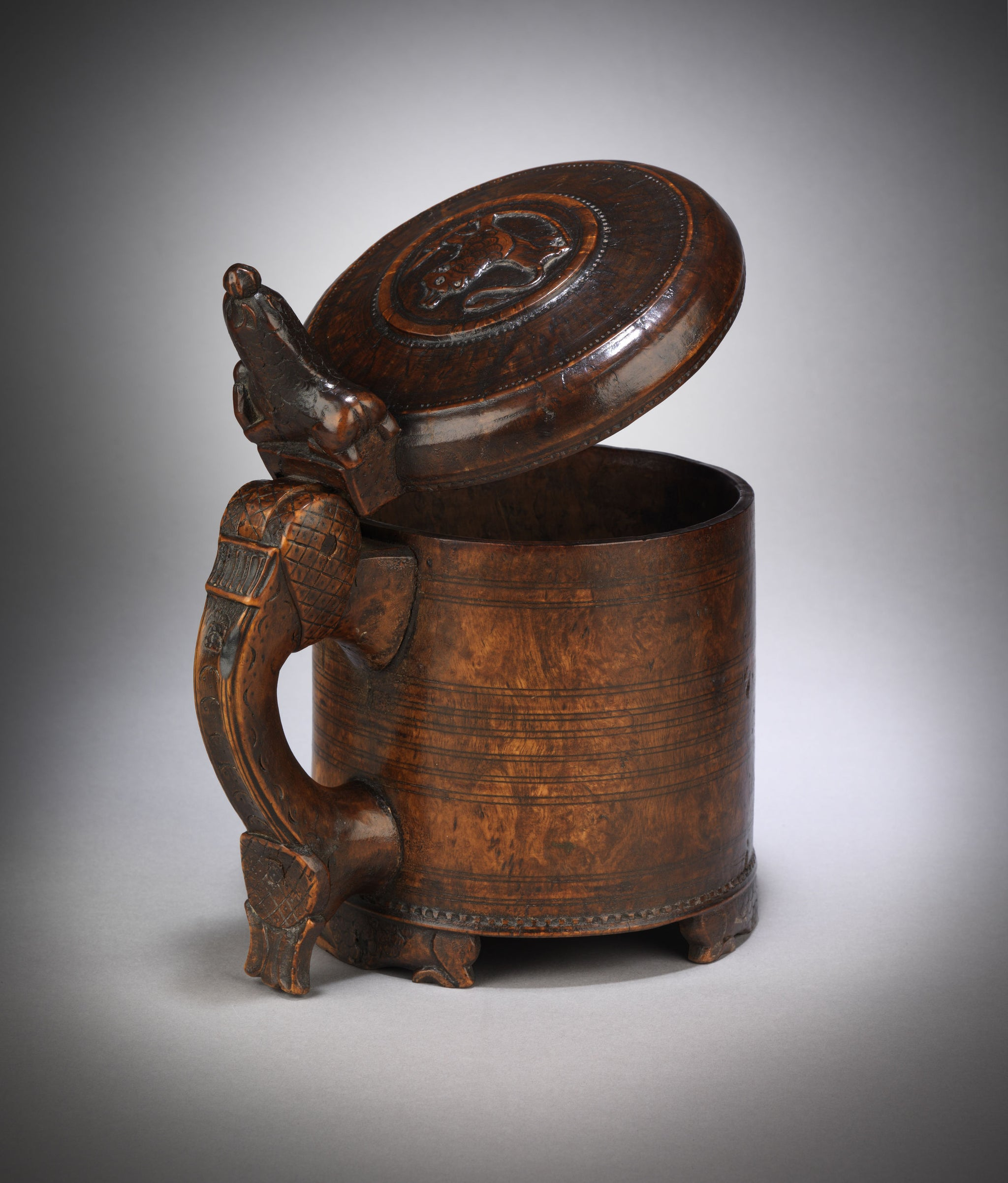 Fine Early Ceremonial Tankard with Lion Finial