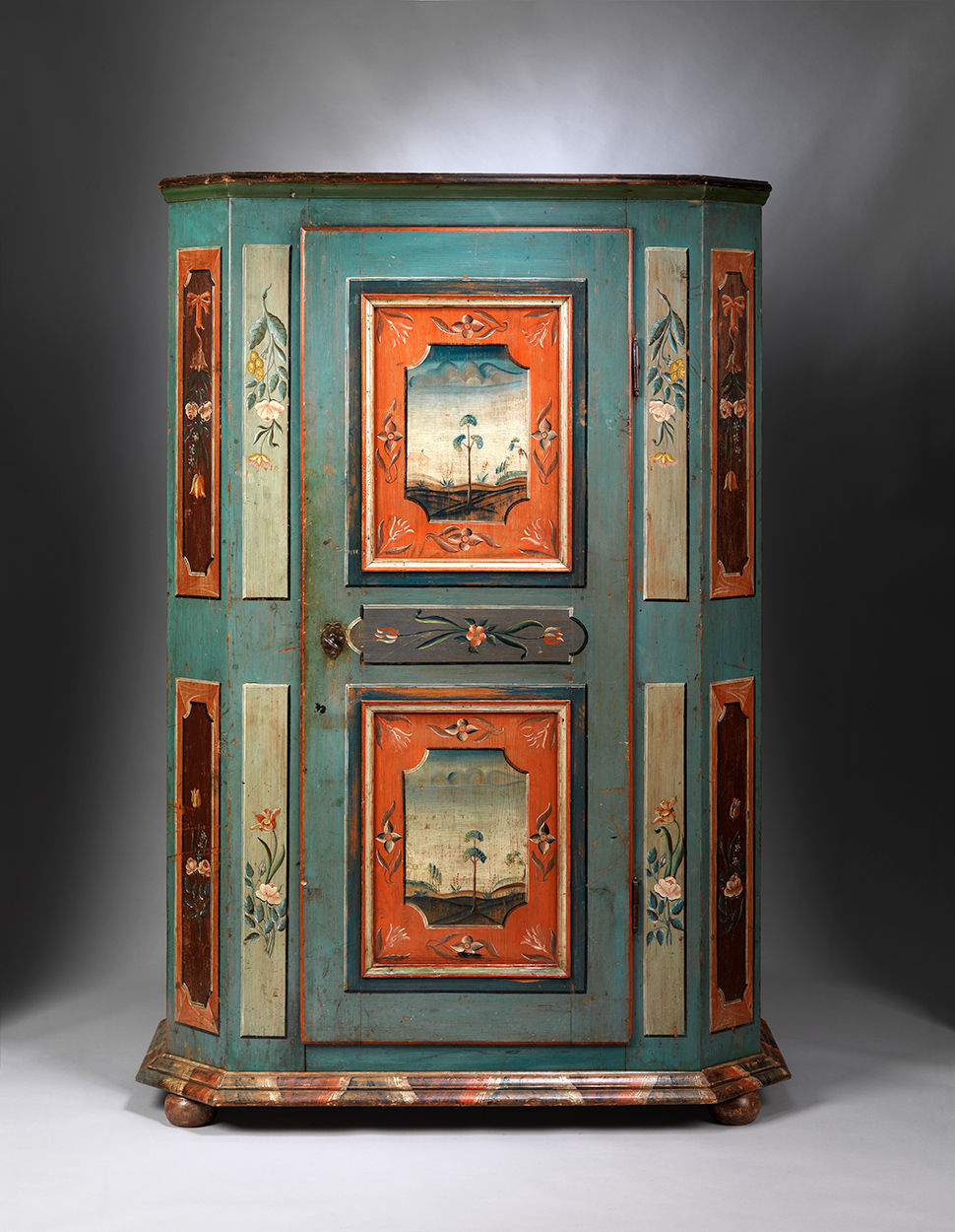 Exceptional Folk Art Painted Marriage Cupboard