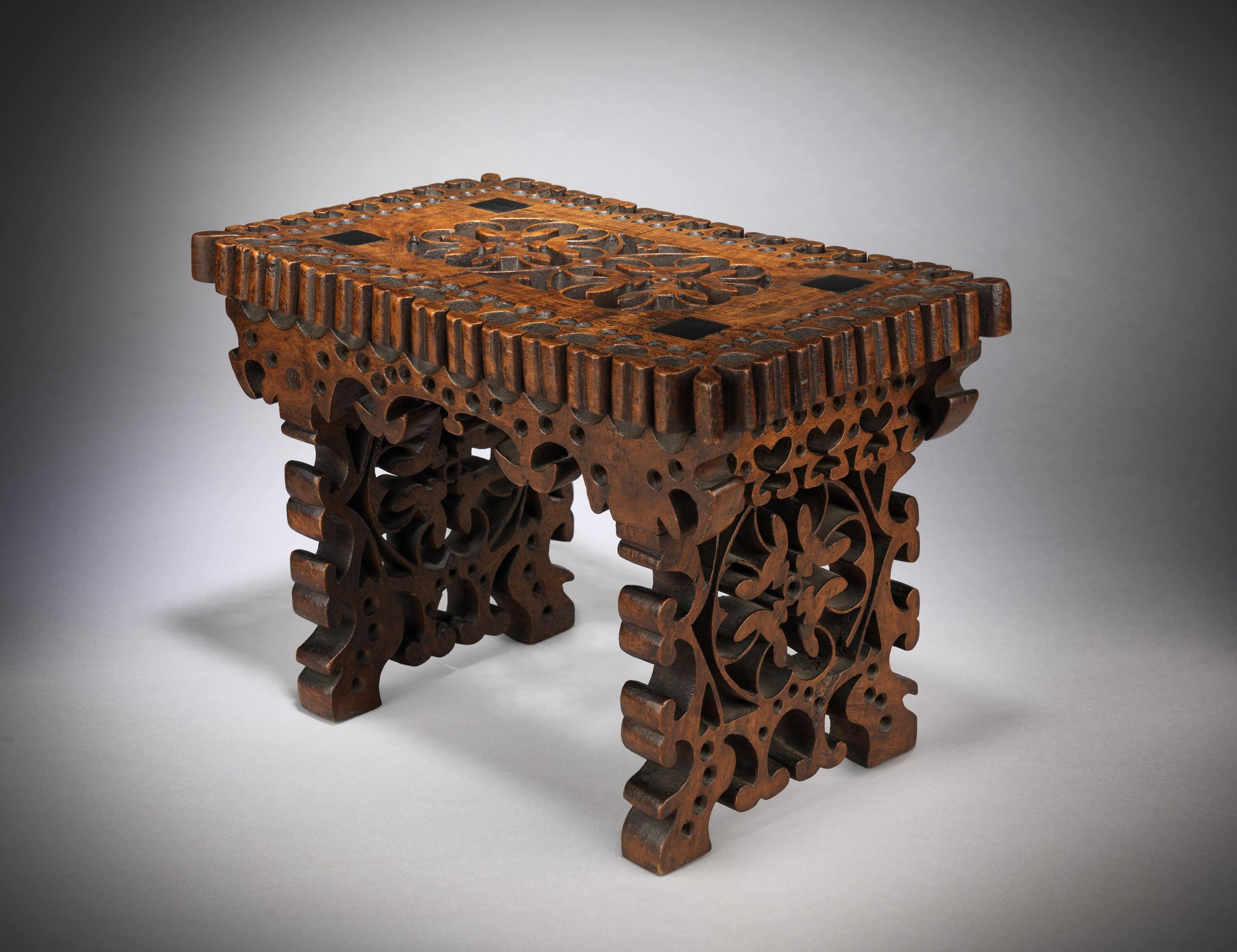 "Fine and Rare Trestle Based ""Love Token"" Stool"