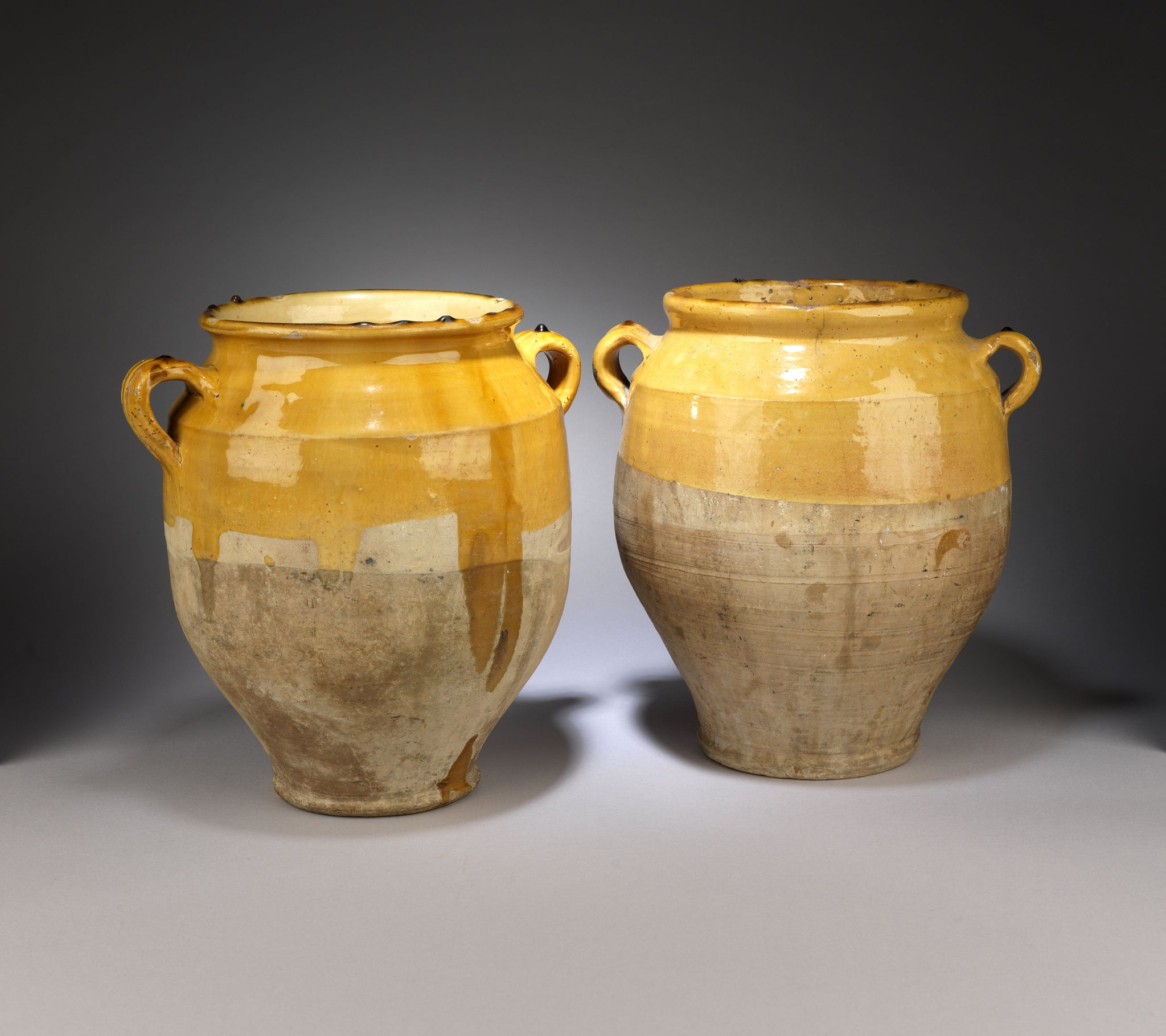 Two Traditional Pale Yellow Glazed Confit Pots