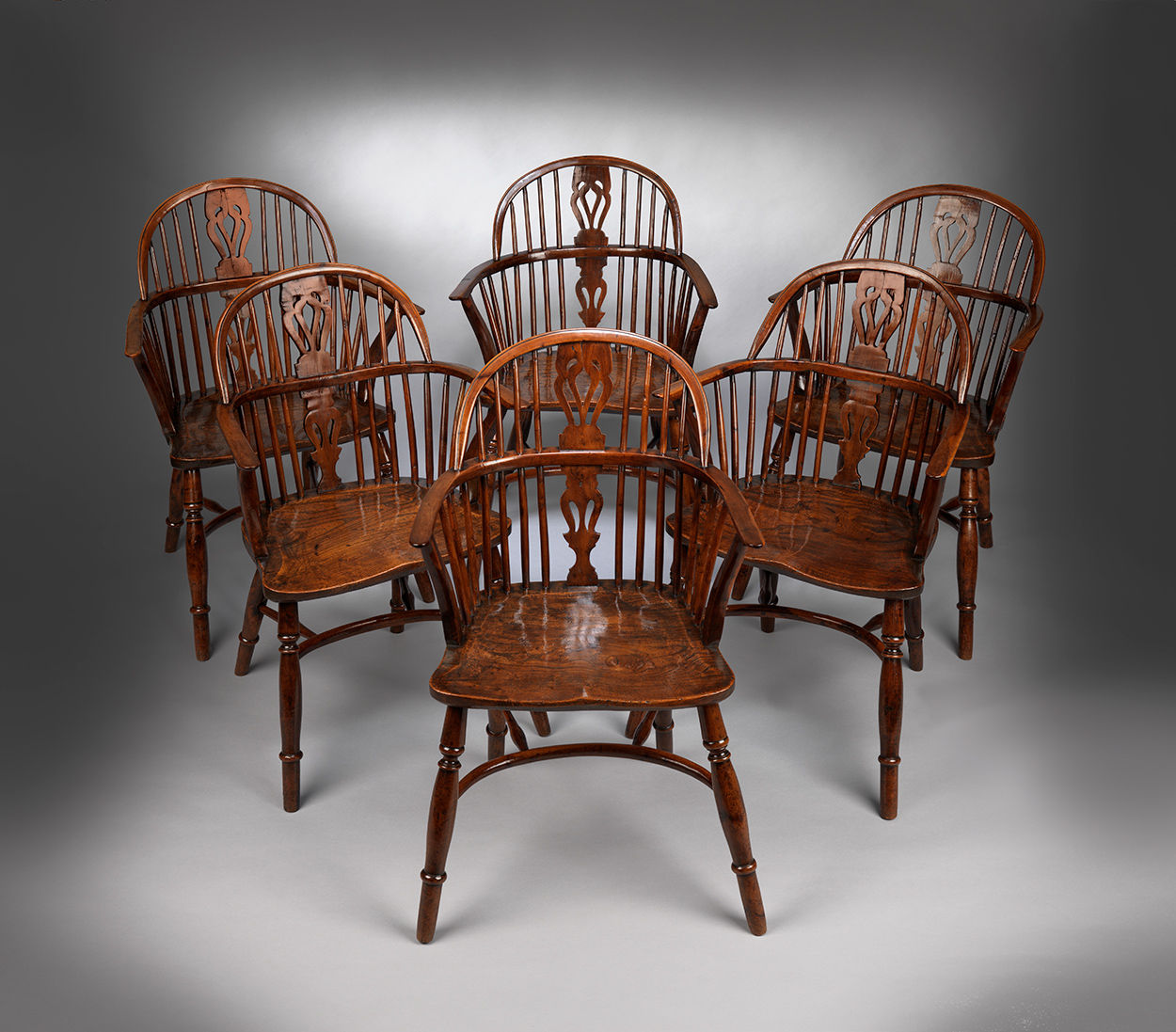 A Classic Set of Six Windsor Bow Back Armchairs