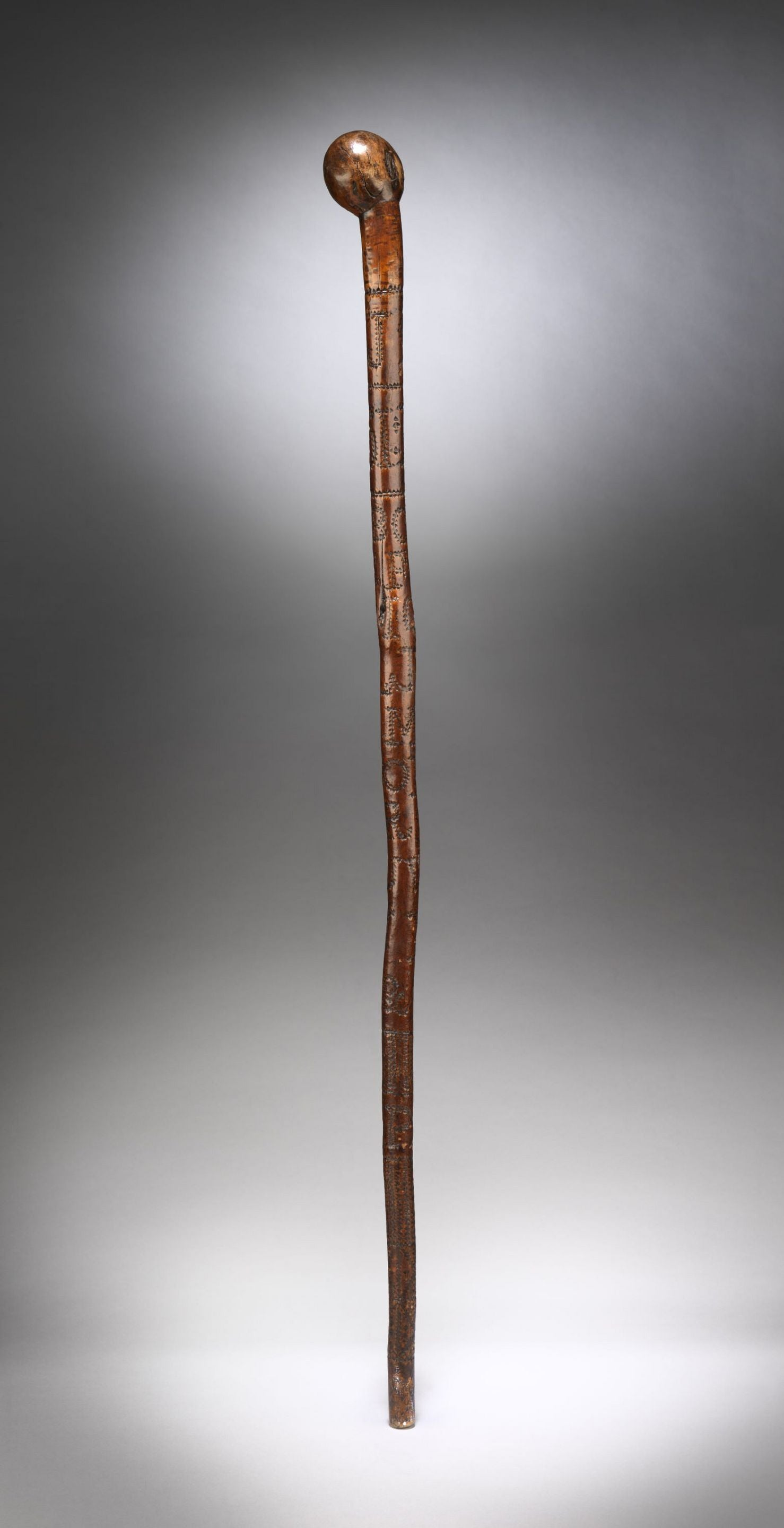 "Rare Folk Art ""Alphabet"" Walking Stick"