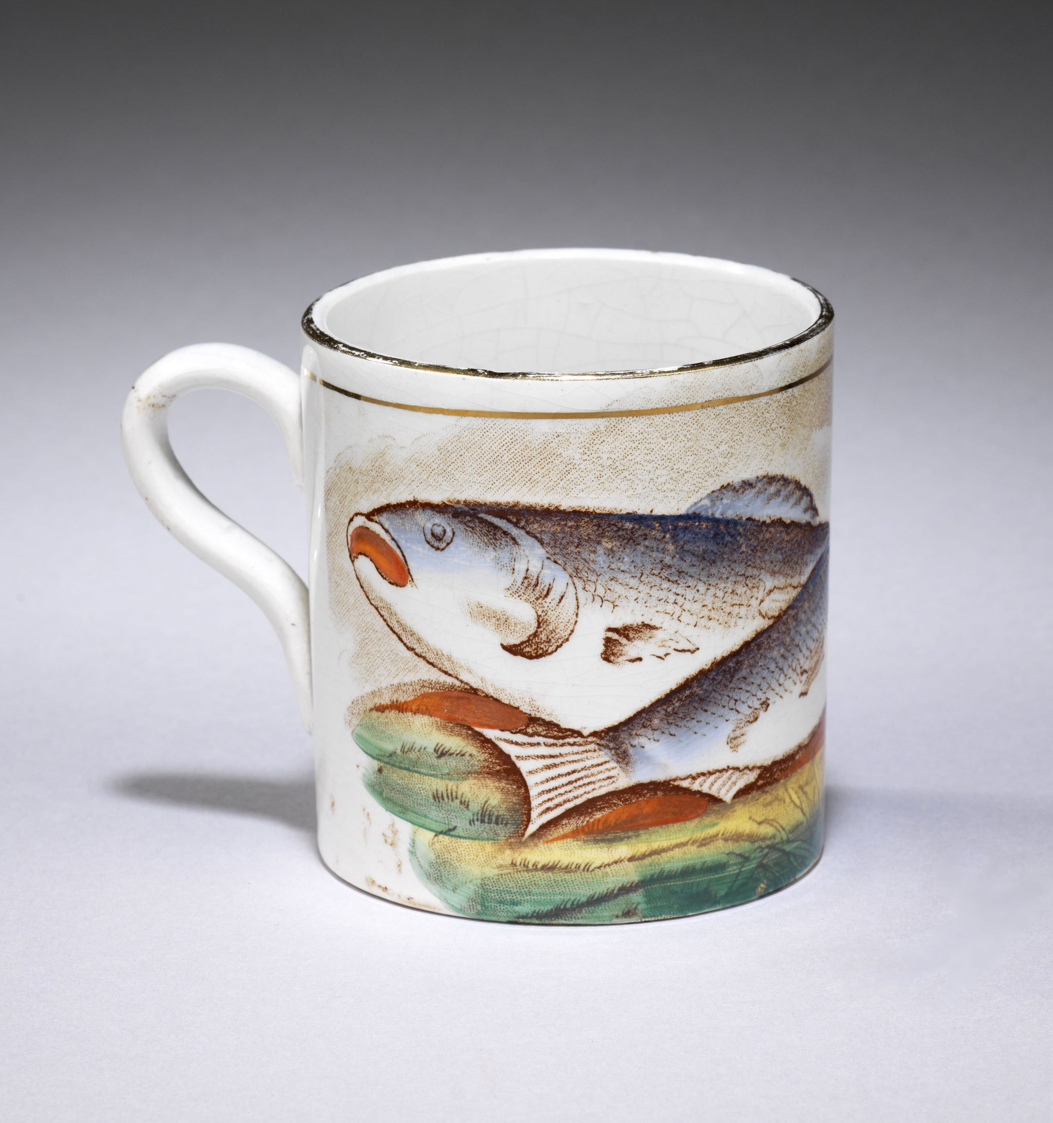 Fish Decorated Loop Handled Mug