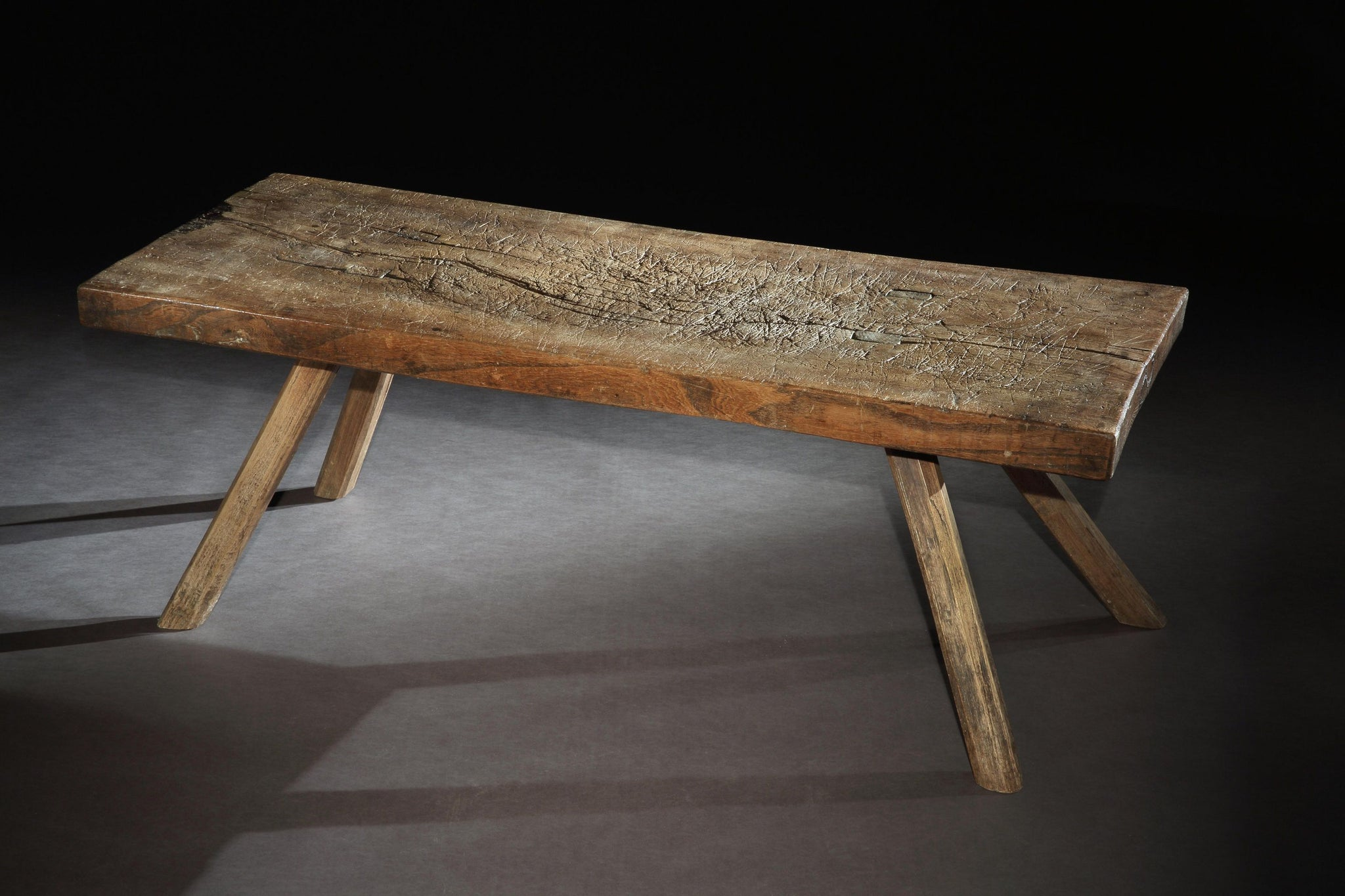 Fine Primitive Vernacular Pig Bench or Low Work Table