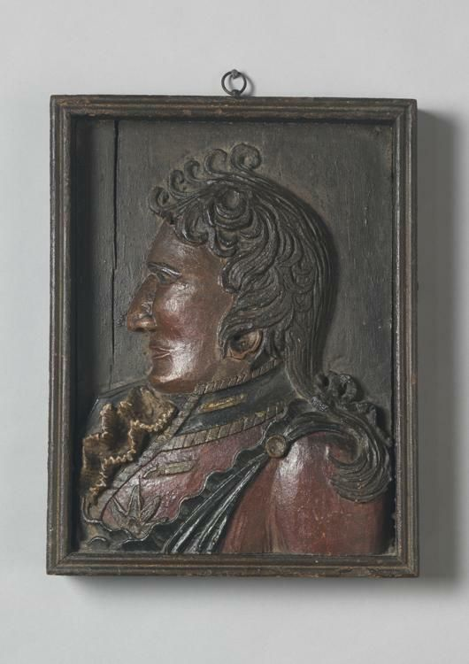 Relief Carved Portrait of A Uniformed Officer