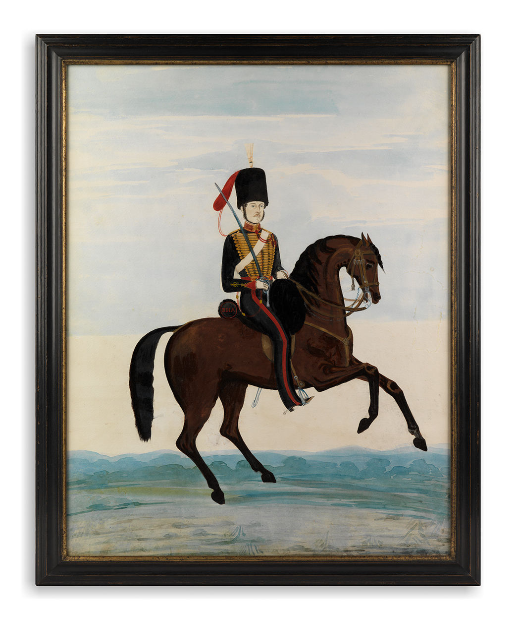 Remarkable Naïve Military Equestrian Portrait