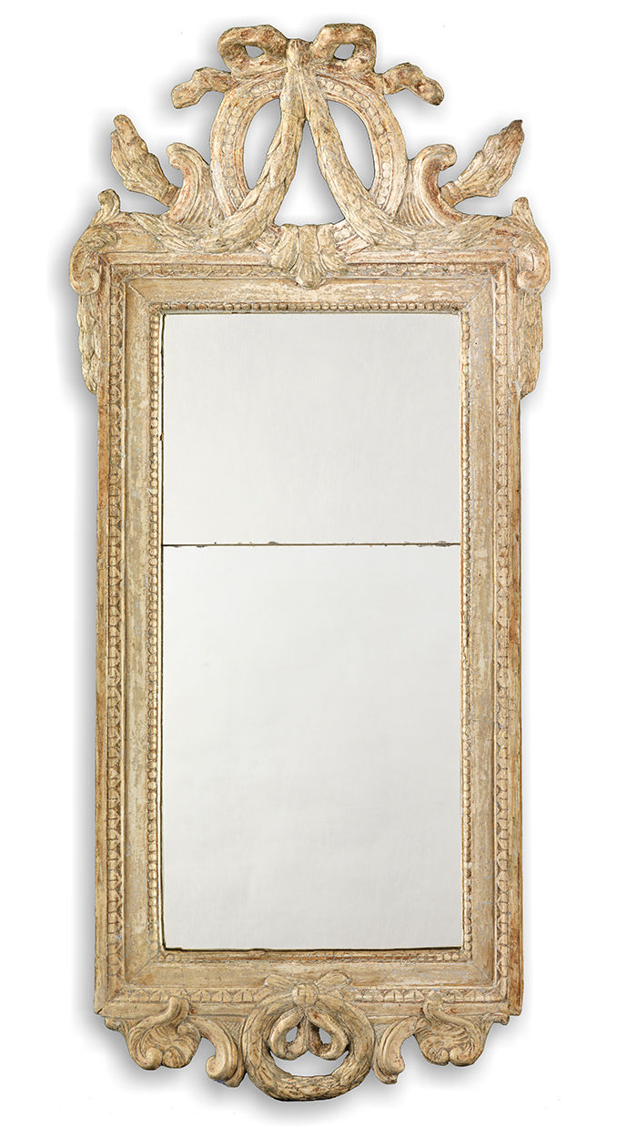 Signed Gustavian Period Crested Mirror