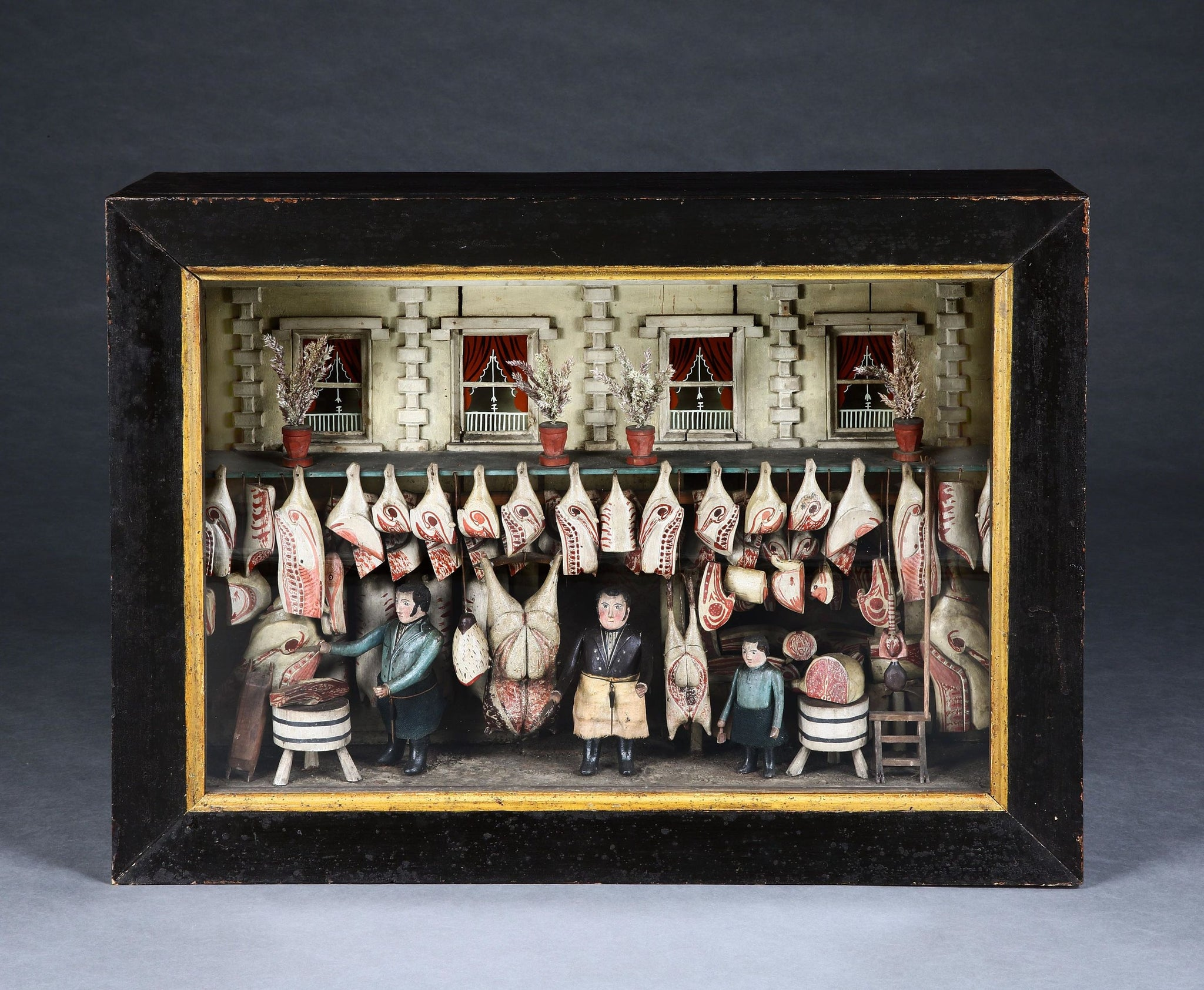 Iconic British Folk Art Butcher's Shop Diorama