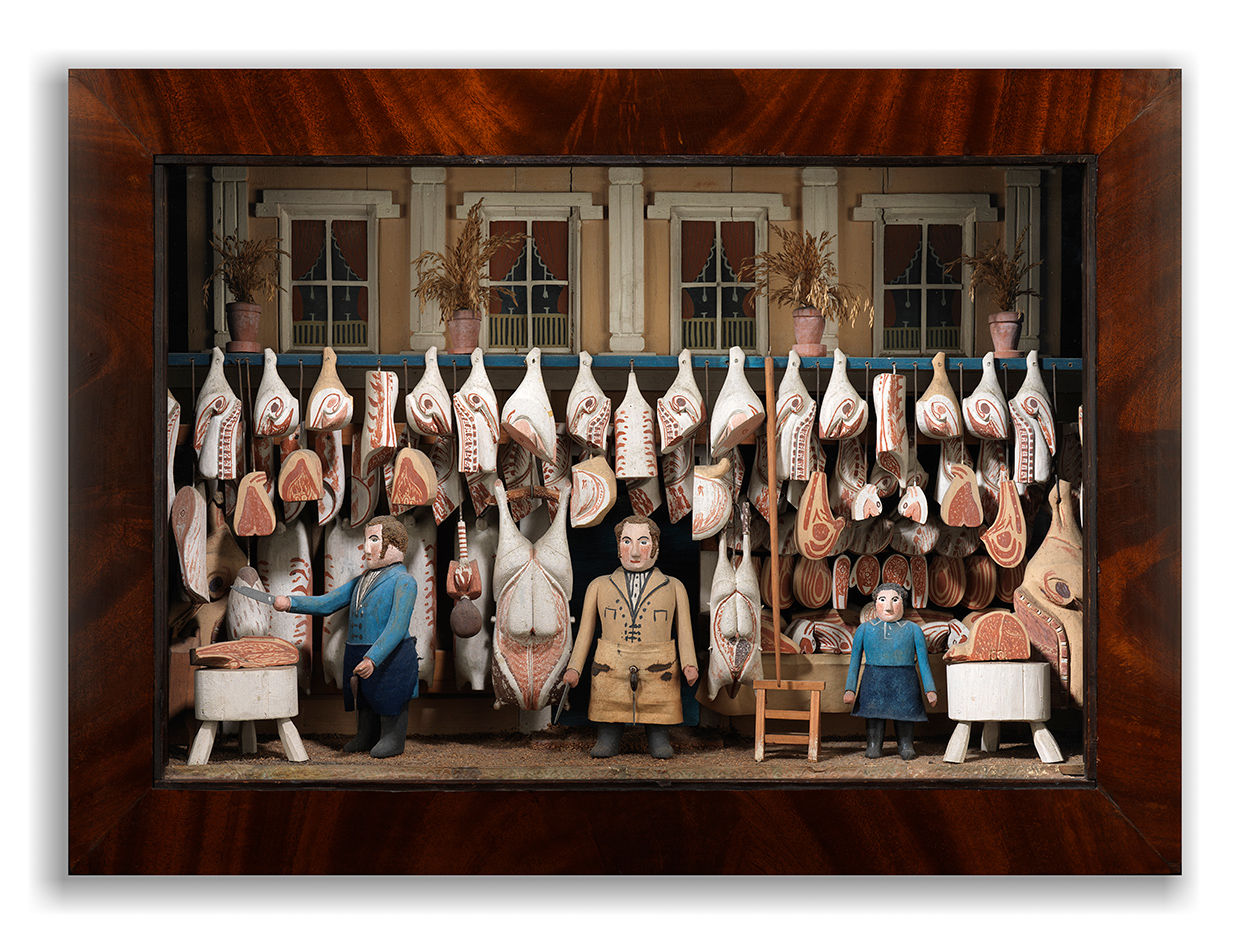 Exceptional Folk Art Butcher's Shop Diorama