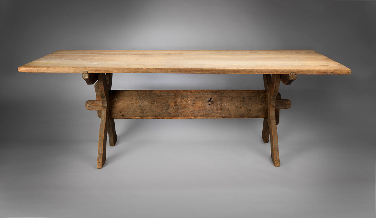 "Exceptional Vernacular ""X"" Frame Trestle Table"