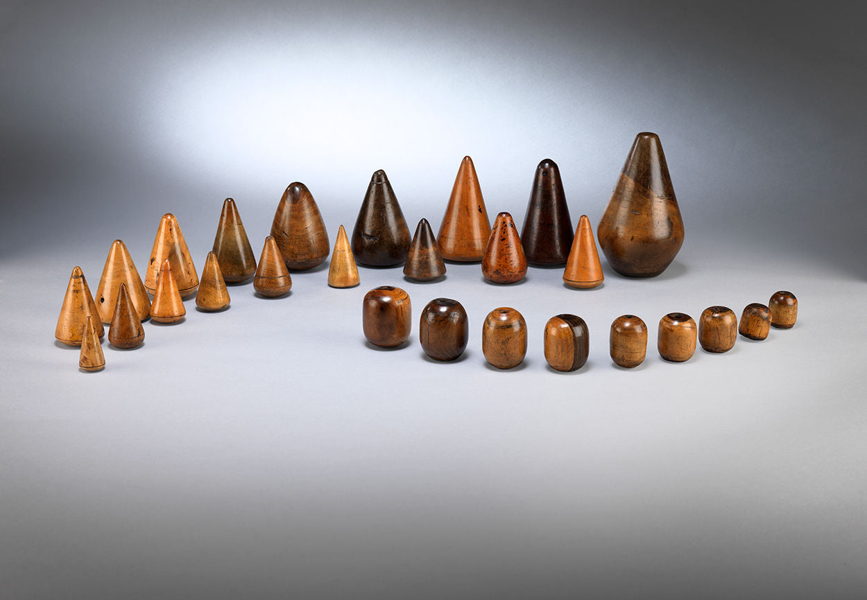 Rare Graduated Group of Conical Turnpins and Plumbers Bobbins