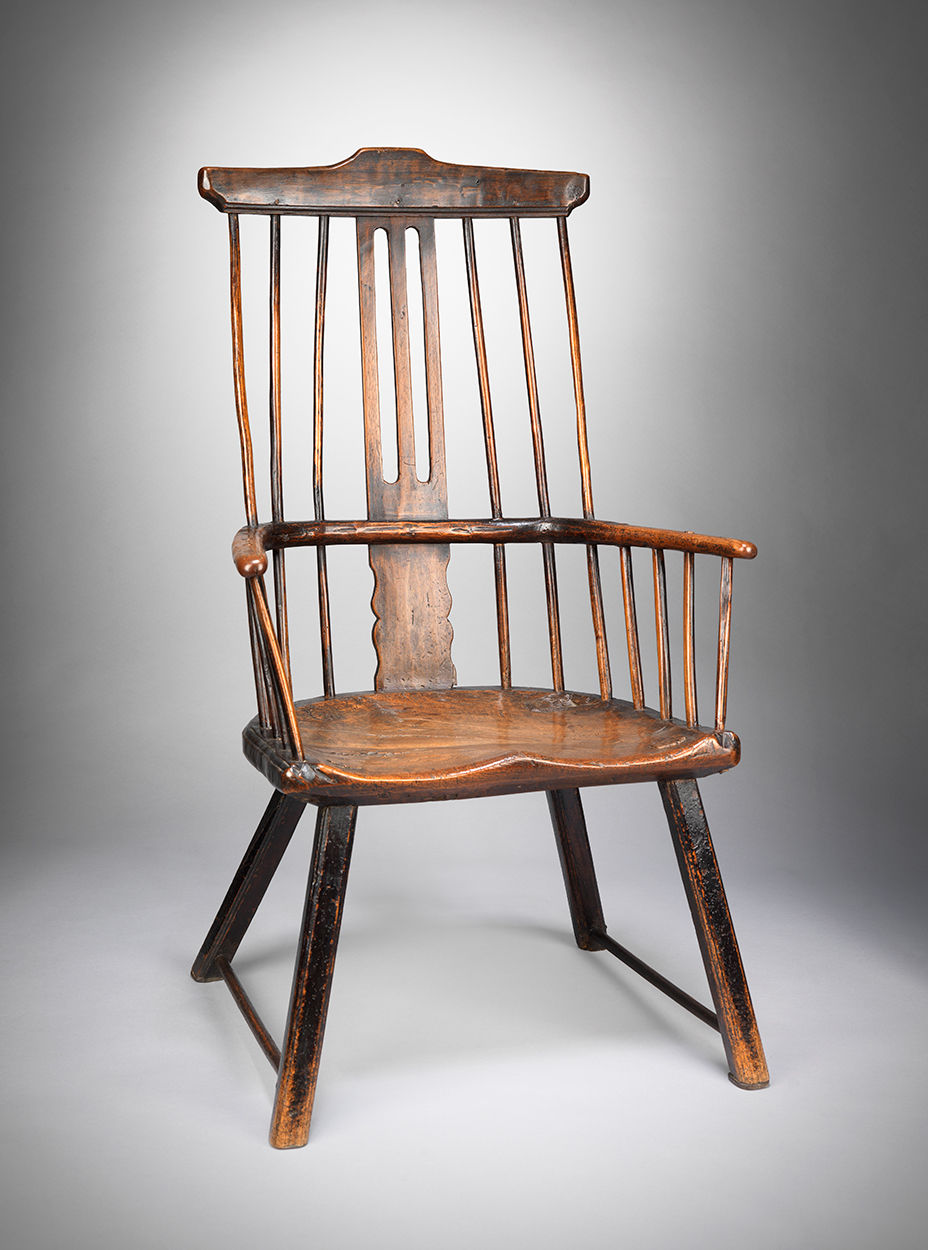Fine Early Primitive Windsor Comb Back Armchair