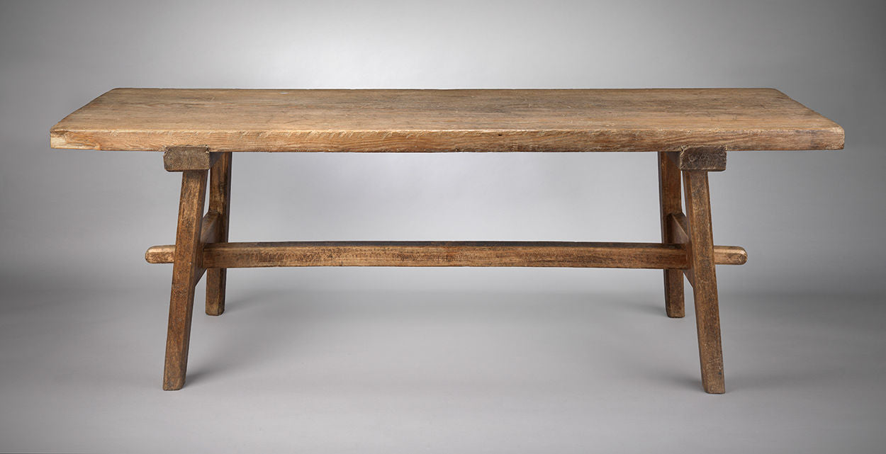 Sculptural Thick Top Trestle Table
