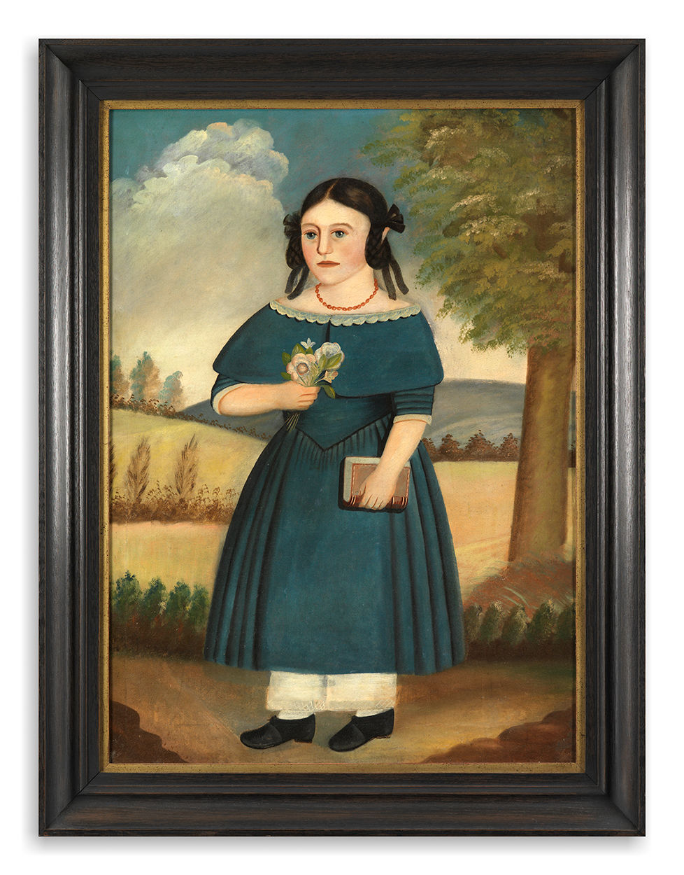 Naïve Portrait of a Girl Wearing a Blue Dress in a Stylised Landscape