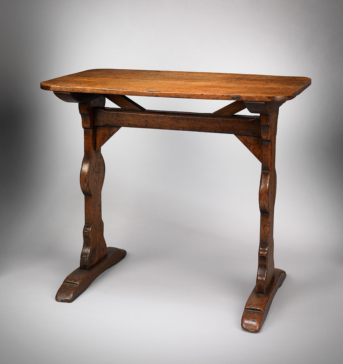 "Small ""T"" Trestle Tavern Table with Sledge Feet"