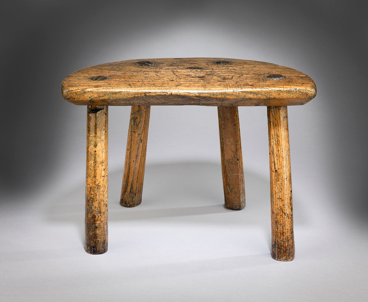Primitive Georgian Semi-Circular Stool