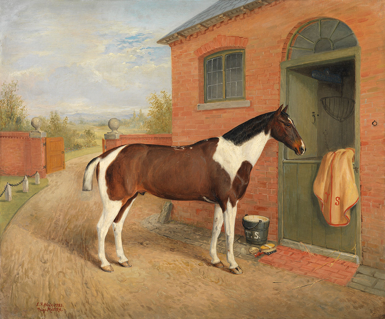 Unusual Naïve Portrait of a Piebald Horse