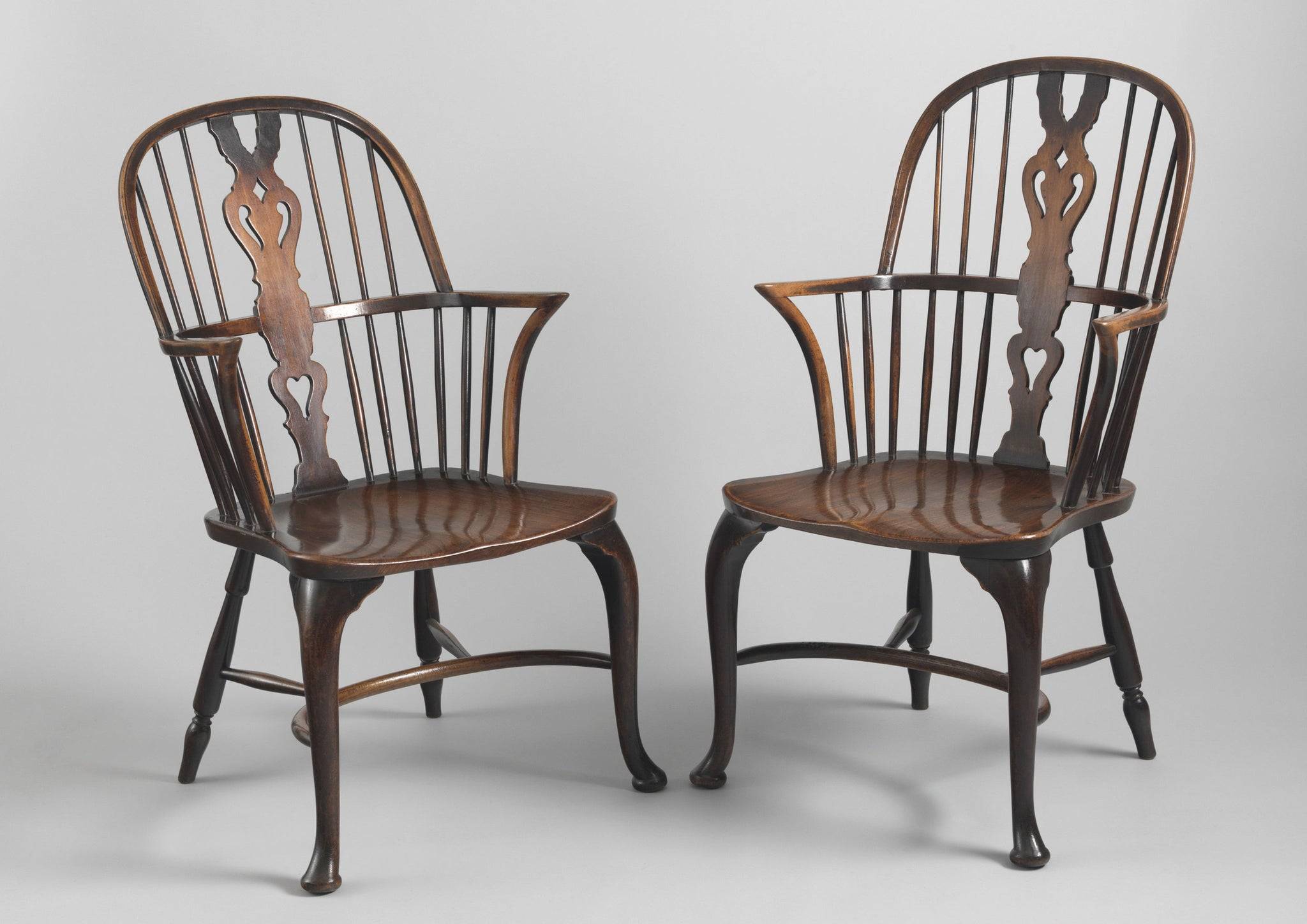 Refined Pair of Cabriole Legged Windsor Armchairs