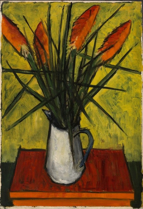 White Jug of Flowers on the Red Table