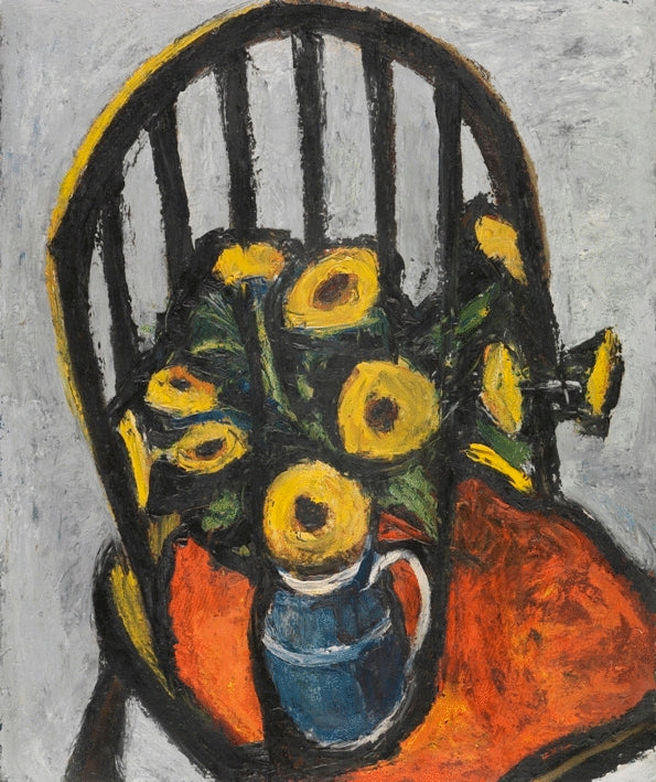 Jug of Yellow Flowers on the Black Chair
