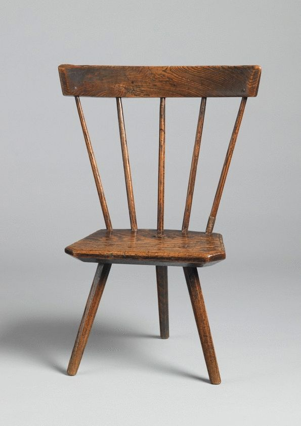 Fine Primitive Fan Back Three Legged Backstool
