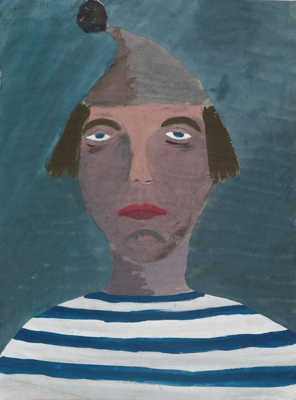 Portrait of Man With Bobble Hat and Striped Shirt