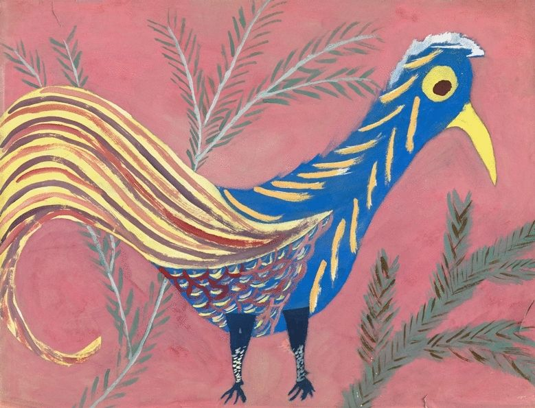 Blue Rooster with Yellow Tail
