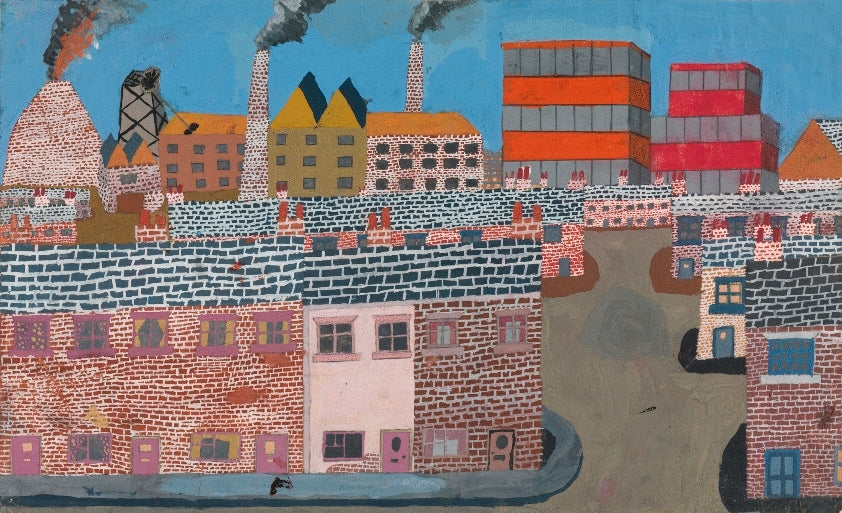 Industrial Landscape with Three Smoking Chimneys