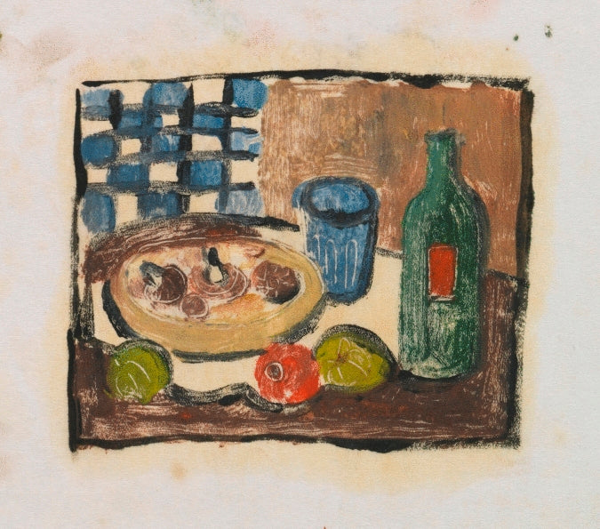 Composition Sketch with a Dish of Mushrooms, Glass and Bottle