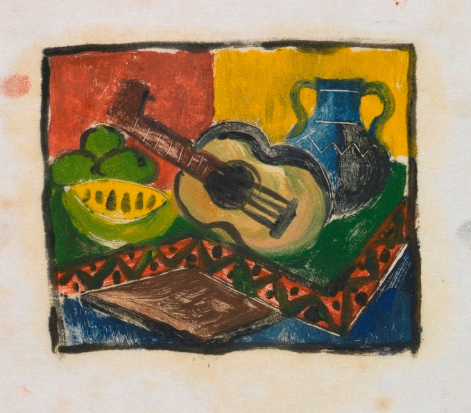 Composition Sketch with a Twin Handled Vase, Fruit and a Guitar