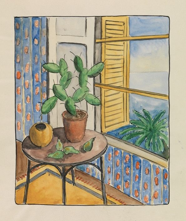 Cactus and Pears by the Window