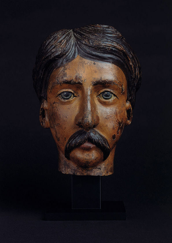 Folk Art Portrait Carving Of a Man with a Moustache