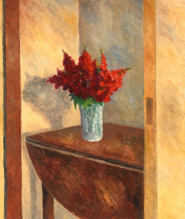 Red Flowers On The Drop Leaf Table