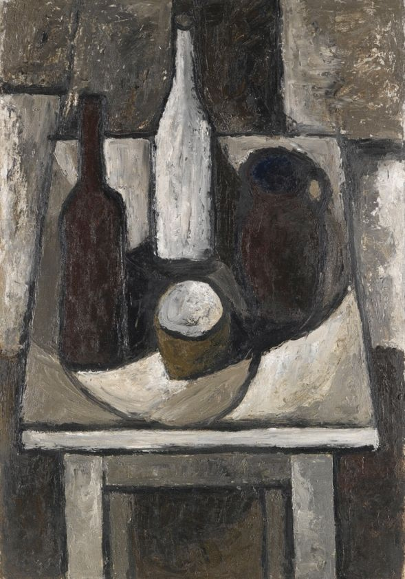 Bottles, Jug and Bowl On The White Table