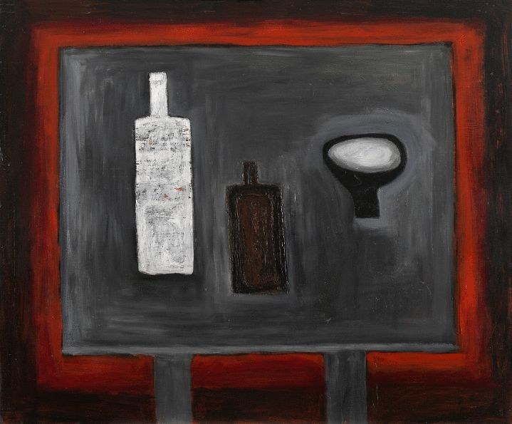 Composition with Two Bottles and Crooked Bowl