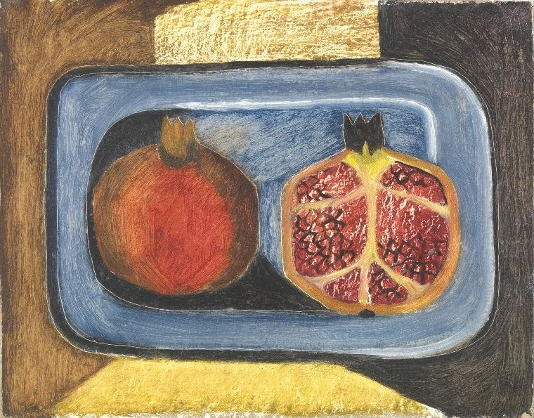 Composition with Pomegranate on the Blue Dish
