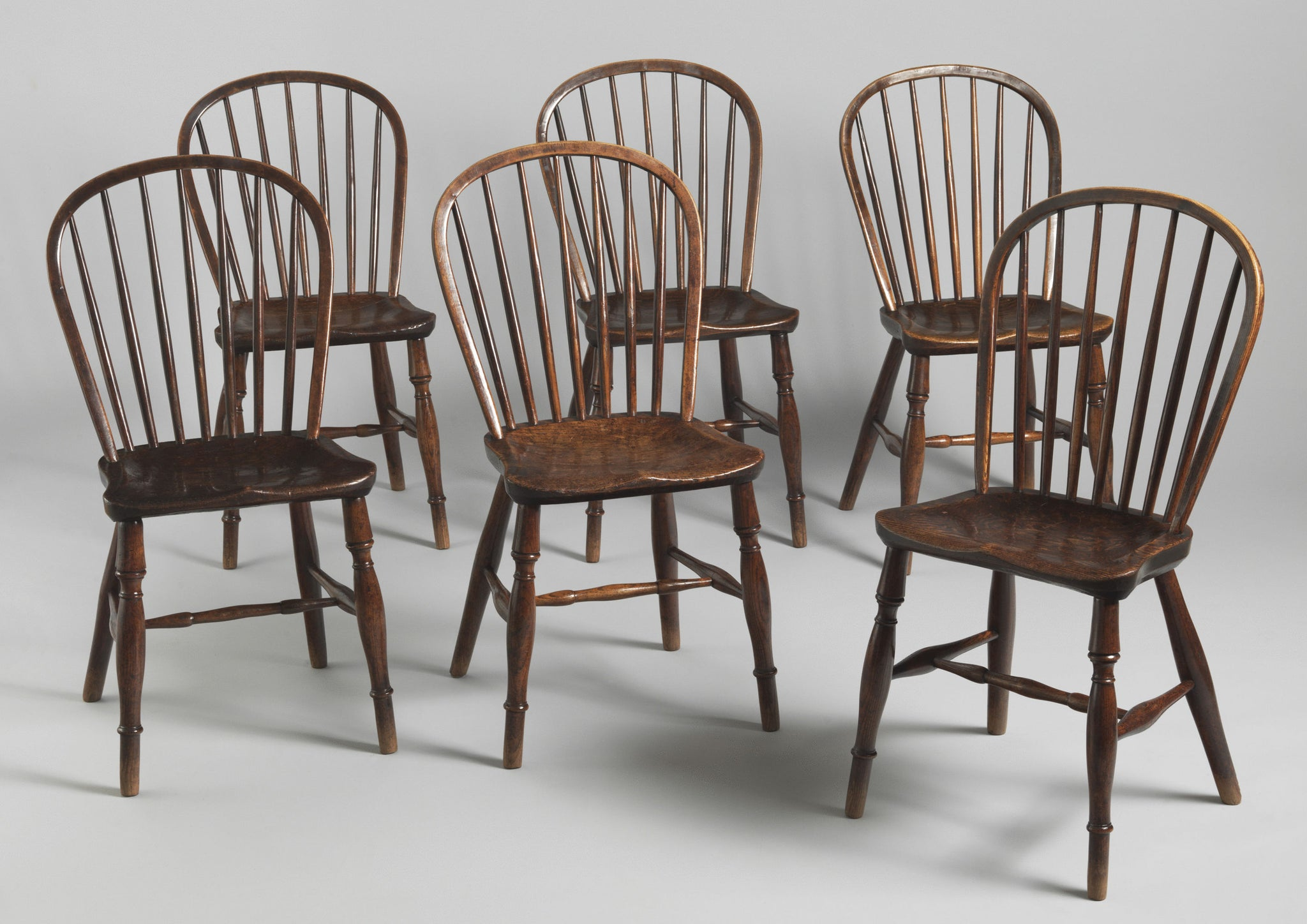 Fine Original Set of Six Windsor Bow Back Chairs