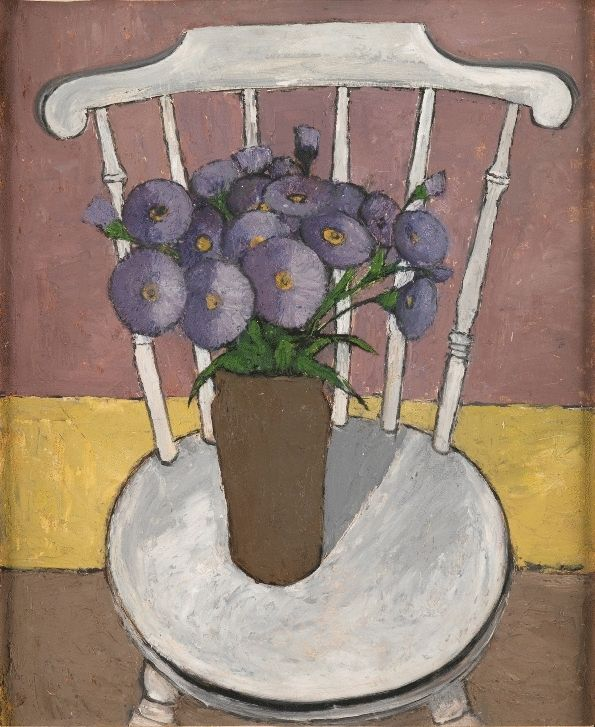 Vase of Flowers on the White Chair