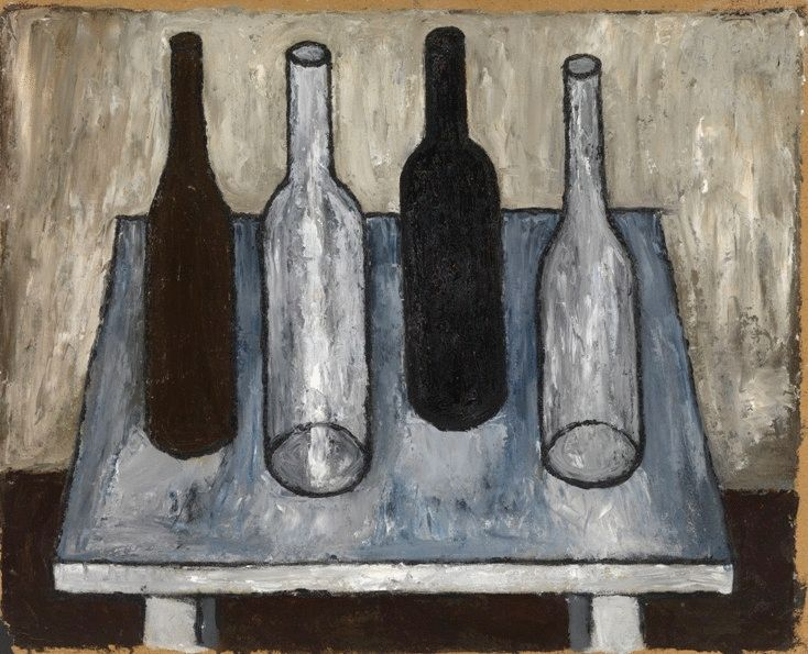 Four Bottles on the White Table